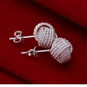 ❤️gorgeous silver mesh knot stud earrings